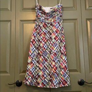 Strapless plaid Strapless Jcrew dress. Size 6.